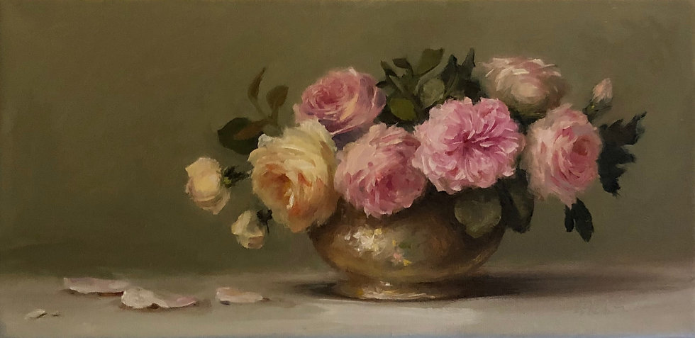 """Roses in Antique Silver Bowl, 8""""x16"""" original oil painting on wrapped linen"""