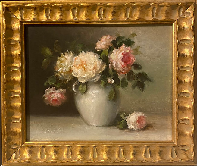 "Grace Roses in Ironstone, Original Oil Painting on  8""x10"" Framed"