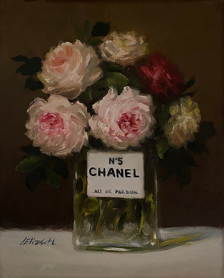 """English Roses in Chanel No5, Original Oil Painting on  8""""x10"""" Unframe"""