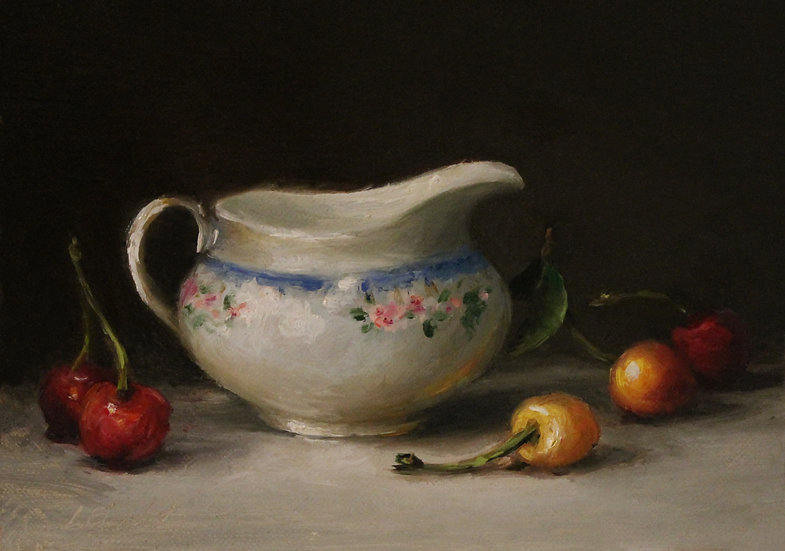 "Still Life with Cherries and Porcelain, 5""x7"" oil on linen panel Unframed"