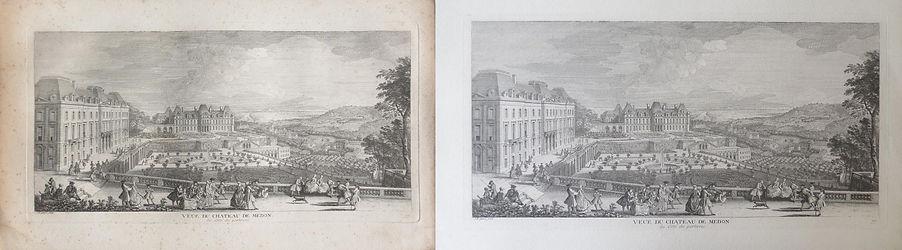 """""""Vue du château de Meudon"""",Gigaud (Gravure noir et blanc)"""