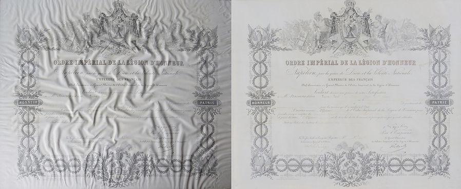 """""""Ordre impérial de la légion d'honneur"""" (lithographie noir et blanc et encre de chine)"""