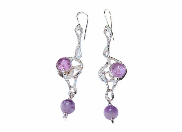 Silver and amethyst earrings