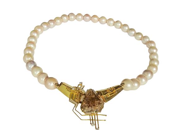 """""""Intrigo"""" - Collana in oro, perle e quarzo rutilato e diamanti"""