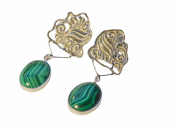 Silver and malachite earrings