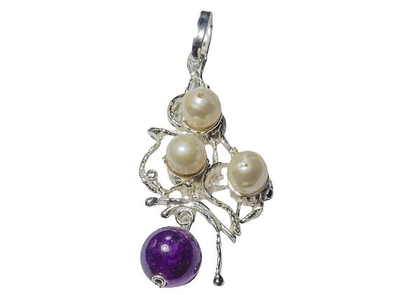 Ciondolo in argento, perle e ametista