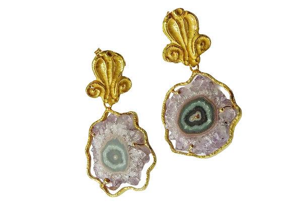 Orecchini in oro con cristalli di ametista
