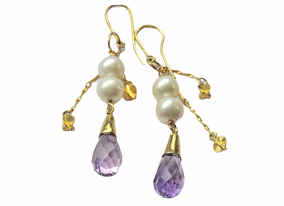Orecchini in oro, perle e ametiste