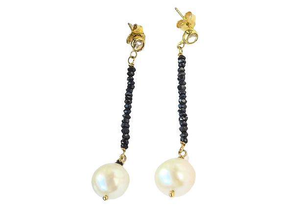 Orecchini in oro con perle e tormaline