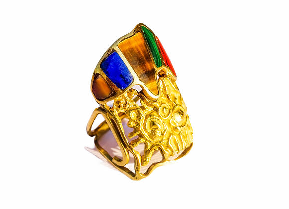 Cast gold ring with tiger's eye, lapis lazuli, malachite and coral