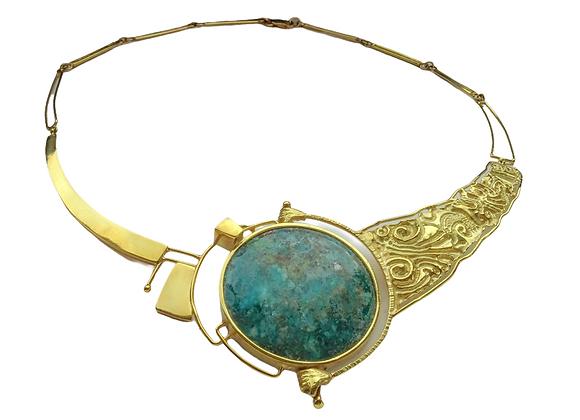 """""""Scomposizione"""" - Collana in oro e azzurrite"""