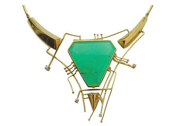 """""""Maschera Spaziale"""" - Collana in oro, crisoprasio e diamanti"""