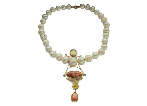 """""""Solare"""" - Collana in oro, oligoclasio, perle diamanti"""
