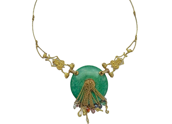 """""""Prato"""" - Collana in oro, giada e pietre preziose"""