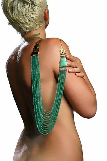 collana, smeraldo, diamanti