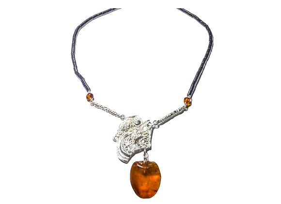 Collana in argento, ambra e onice