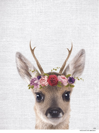 WS JEN w Floral Garland unframed print