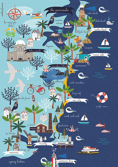 """Old Pittwater Road"" Northern Beaches of  Sydney A2 Map"