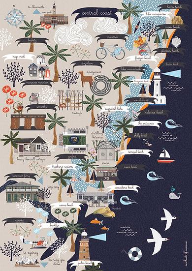 """Brooklyn to Birdie"" Central Coast NSW A2 Map"