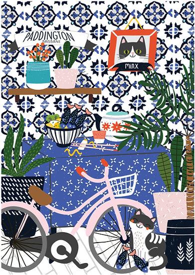 "Bespoke ""My favourite cafe"" A1Brisbane illustrated image."