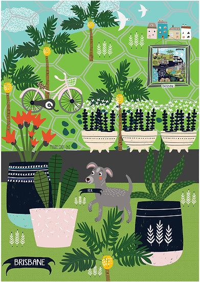"Bespoke ""Palms and Pups"" Brisbane customised A1 illustration."
