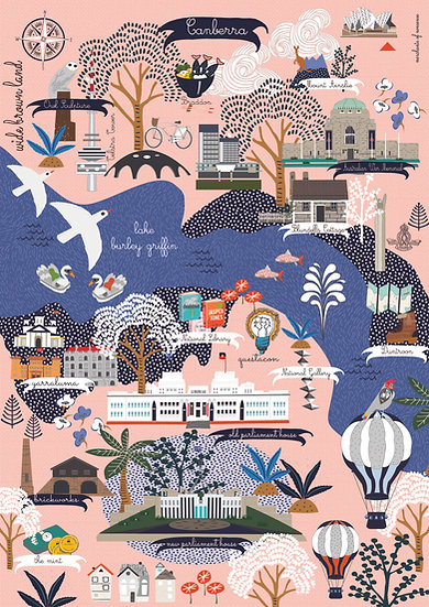 "Bespoke ""Rose Capital"" Canberra A1  Illustration"