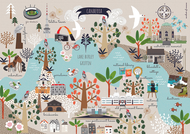 "Bespoke ""Travelling Seagulls"" Canberra  A1 illustrated map."