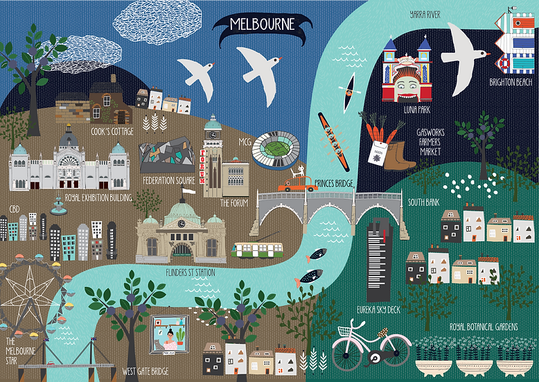 "Bespoke ""Melbourne Visage"" A1 illustrated map"