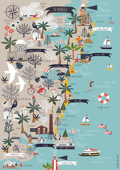 """Summer Bay"" Northern Beaches A2 Map"