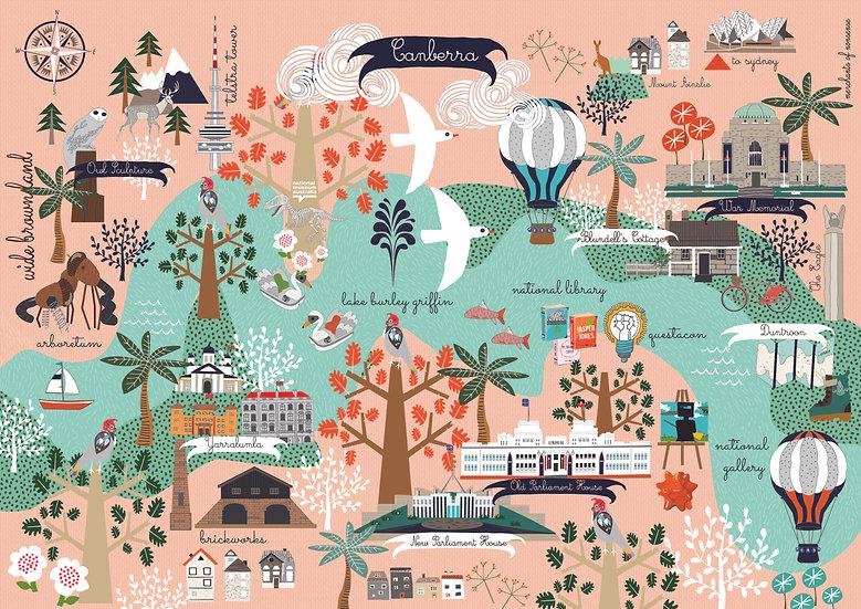 "Bespoke ""Poppy"" Canberra illustrated A1 map."