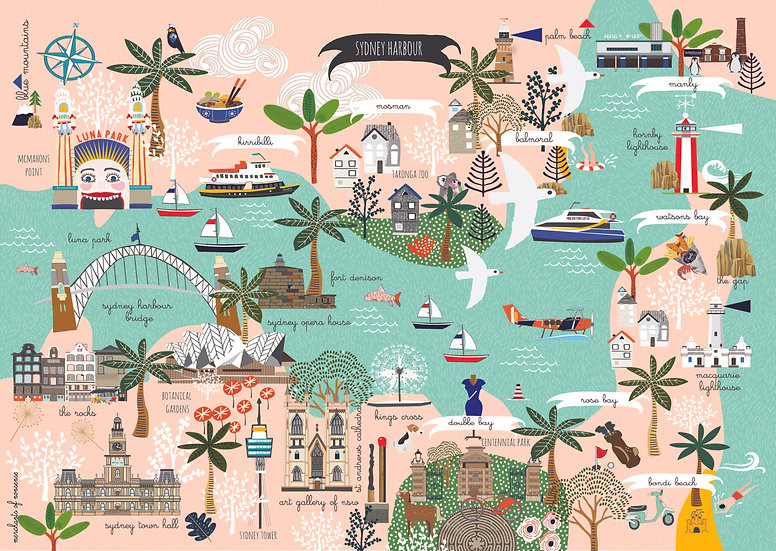 """Twilight Racing"" Sydney Harbour  A2 Map"