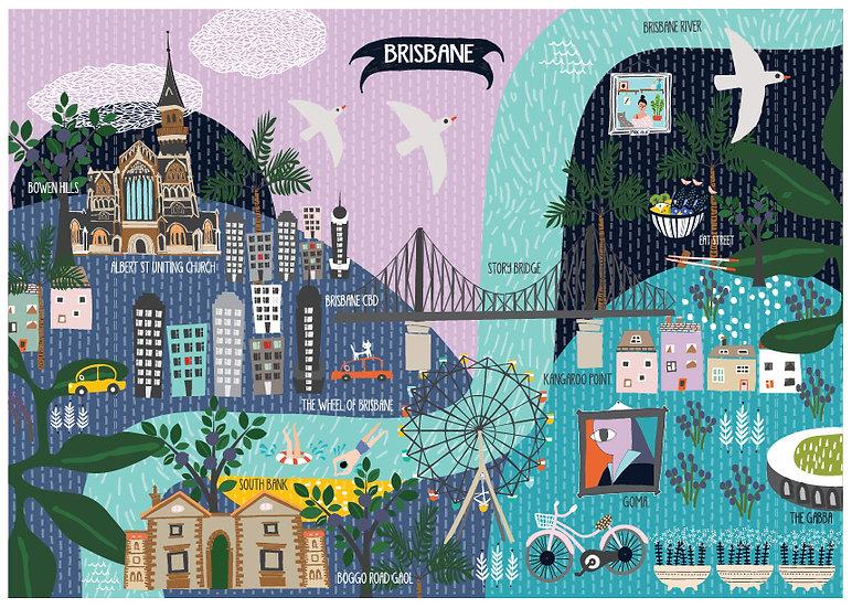 "Bespoke ""Swimming at South Bank"" Brisbane A1 customised illustration"