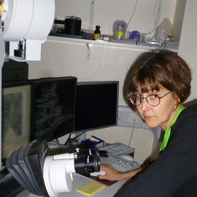 Jane in her element at the microscope