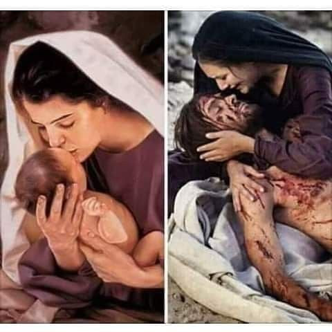 Mary cradles Jesus at the beginning and the end.