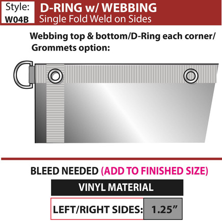 D-Ring with Webbing - Single Fold-Weld D