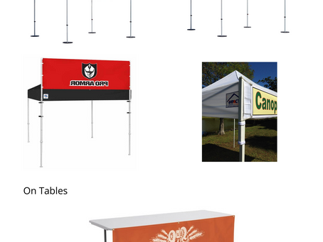 Banners Hanging Options For Tents & Tables
