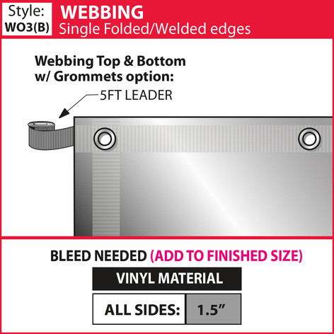 Webbing - Single Fold-Weld & Grommets -