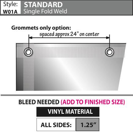 Standard - Single Fold/ Weld, Grommets & Rope