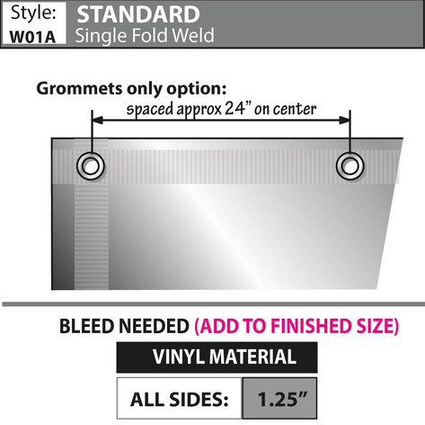 Standard - Single Fold/ Weld, Grommets & Rope
