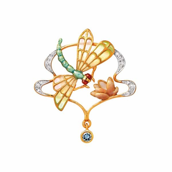 Dragonfly and Lotus Pendant/Brooch
