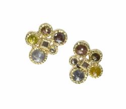 Rose Cut Diamond Cluster Earrings