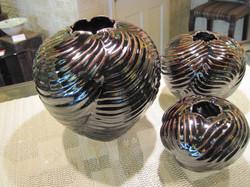 Palm Leaf Vessels, Temmoku Glaze