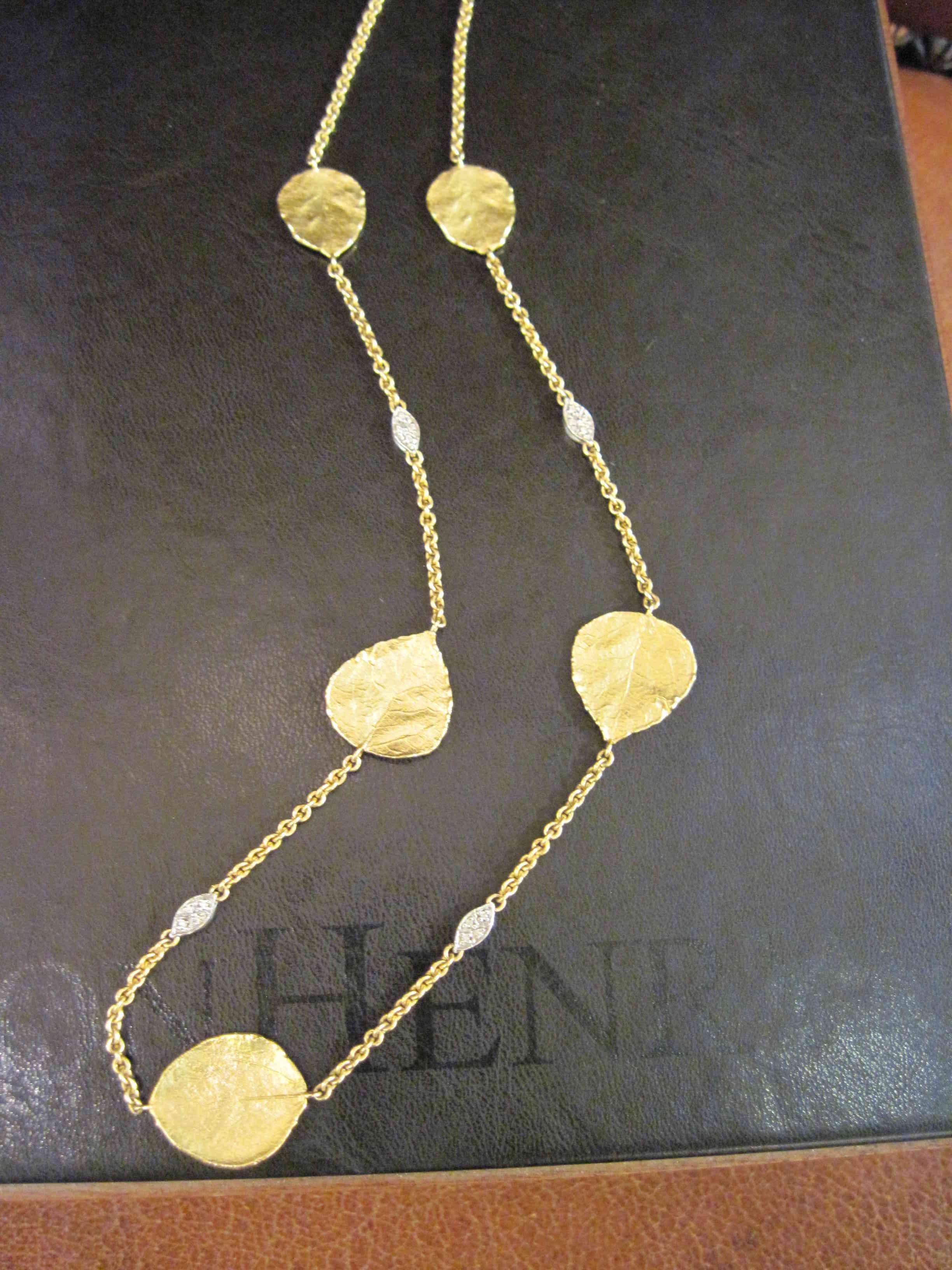 Aspen Leaf and Diamond Necklace