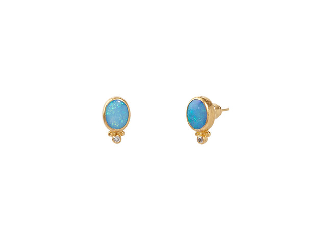 Oval Cabochon Opal Posts with white diamonds