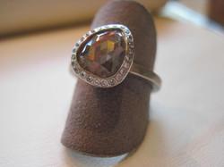 Pear Shaped Grey Diamond Ring