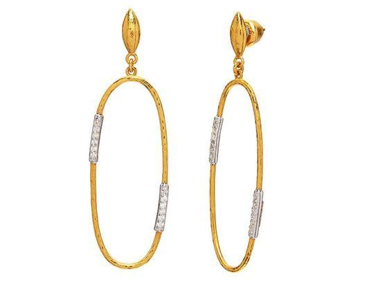 Geo Drop Earrings with Diamonds