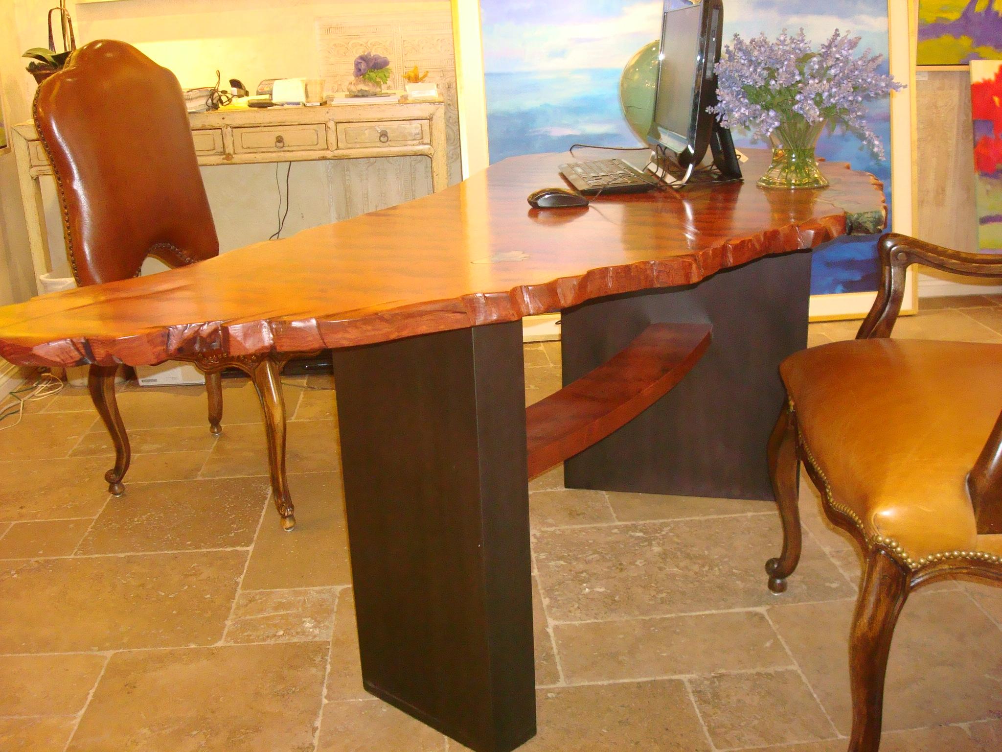Bubinga Desk with Steel Base