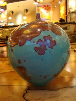 Aqua Vase with Copper