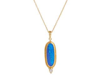 Opal Pendant Necklace with Rosecut diamond