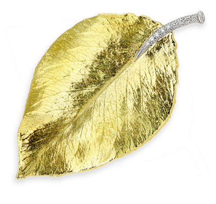 Poplar Brooch with Diamonds